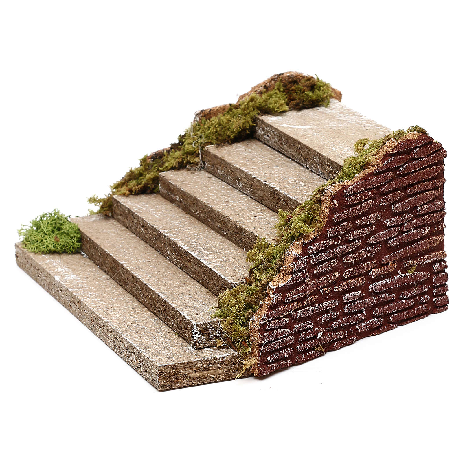 Wooden staircase with moss for Nativity scene 5x20x15 cm 4