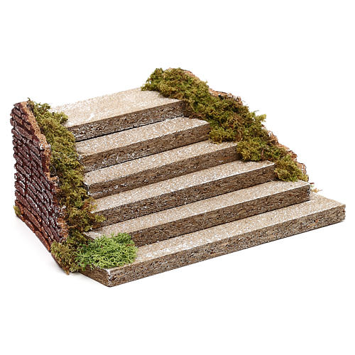Wooden staircase with moss for Nativity scene 5x20x15 cm 2