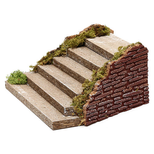 Wooden staircase with moss for Nativity scene 5x20x15 cm 3