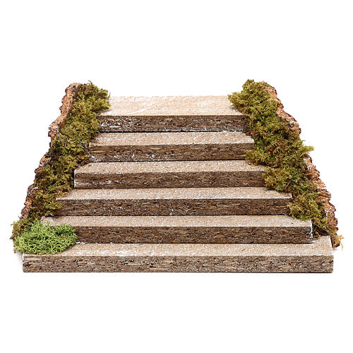 Escalera de madera con musgo para belén 5x20x15 cm 1