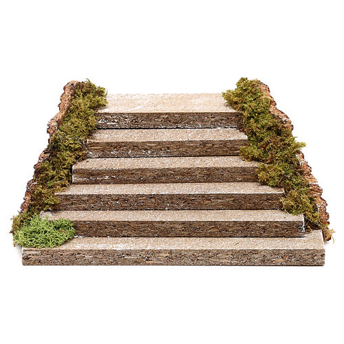 Miniature wooden staircase with moss for nativity, 5x20x15 cm 1