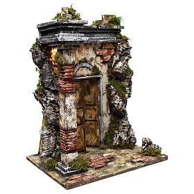 Templo de mampostería iluminación belén 10 cm 50x40x30 cm s3