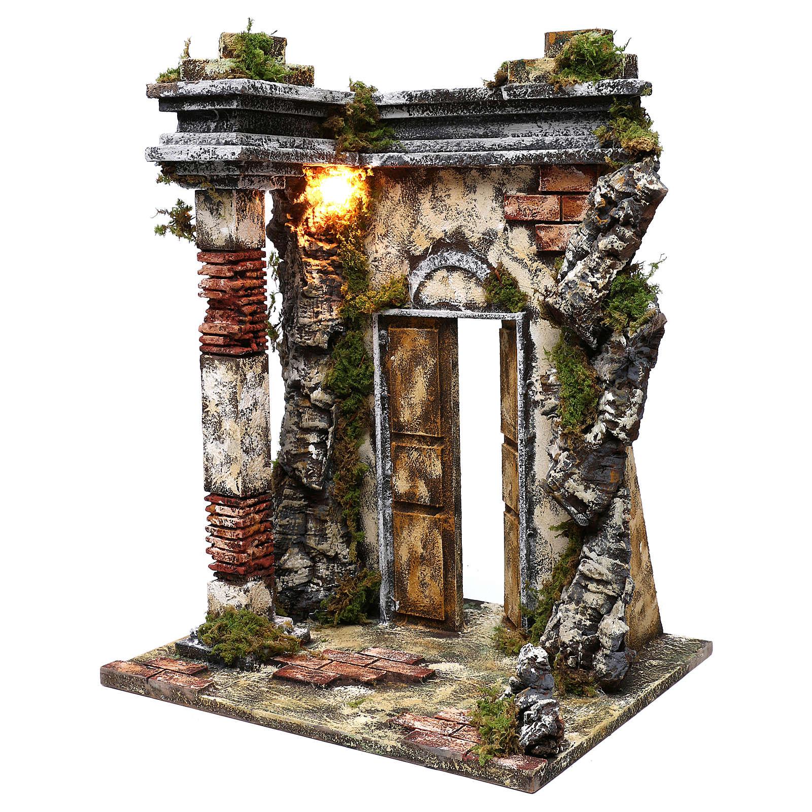 Tempio in muratura illuminazione presepe 10 cm 50x40x30 cm 4
