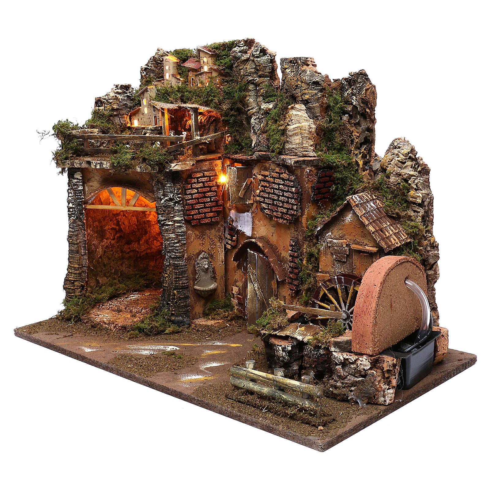Paysage montagne et maisons éclairage moulin à eau 45x60x35 cm 4