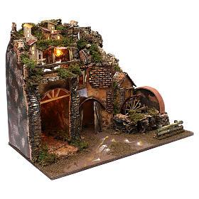 Paysage montagne et maisons éclairage moulin à eau 45x60x35 cm s3
