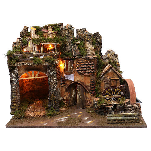 Paysage montagne et maisons éclairage moulin à eau 45x60x35 cm 1