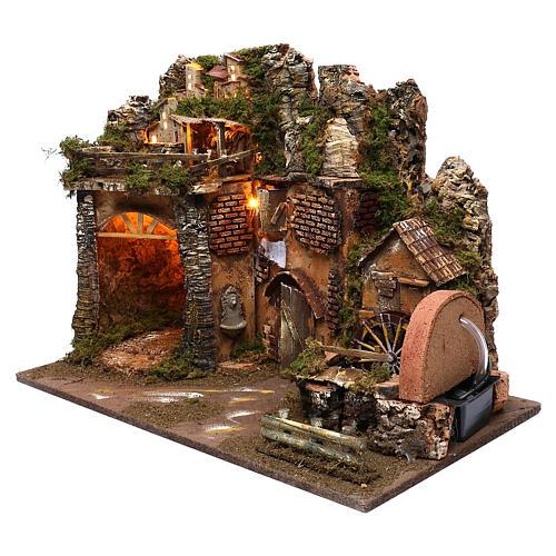 Paysage montagne et maisons éclairage moulin à eau 45x60x35 cm 2