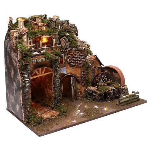 Paysage montagne et maisons éclairage moulin à eau 45x60x35 cm 3