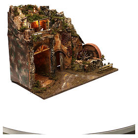 Ambientazione paesaggio 45x60x35 cm luci fuoco led effetto fiamma presepi 7 cm s3