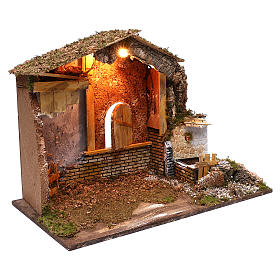 Establo fuente funcionante ventana posterior 45x60x35 cm para belenes 7-8 cm s3