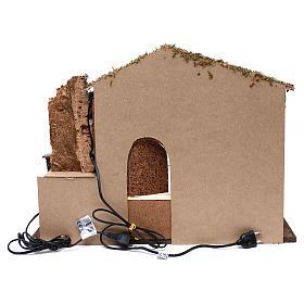 Establo fuente funcionante ventana posterior 45x60x35 cm para belenes 7-8 cm s4
