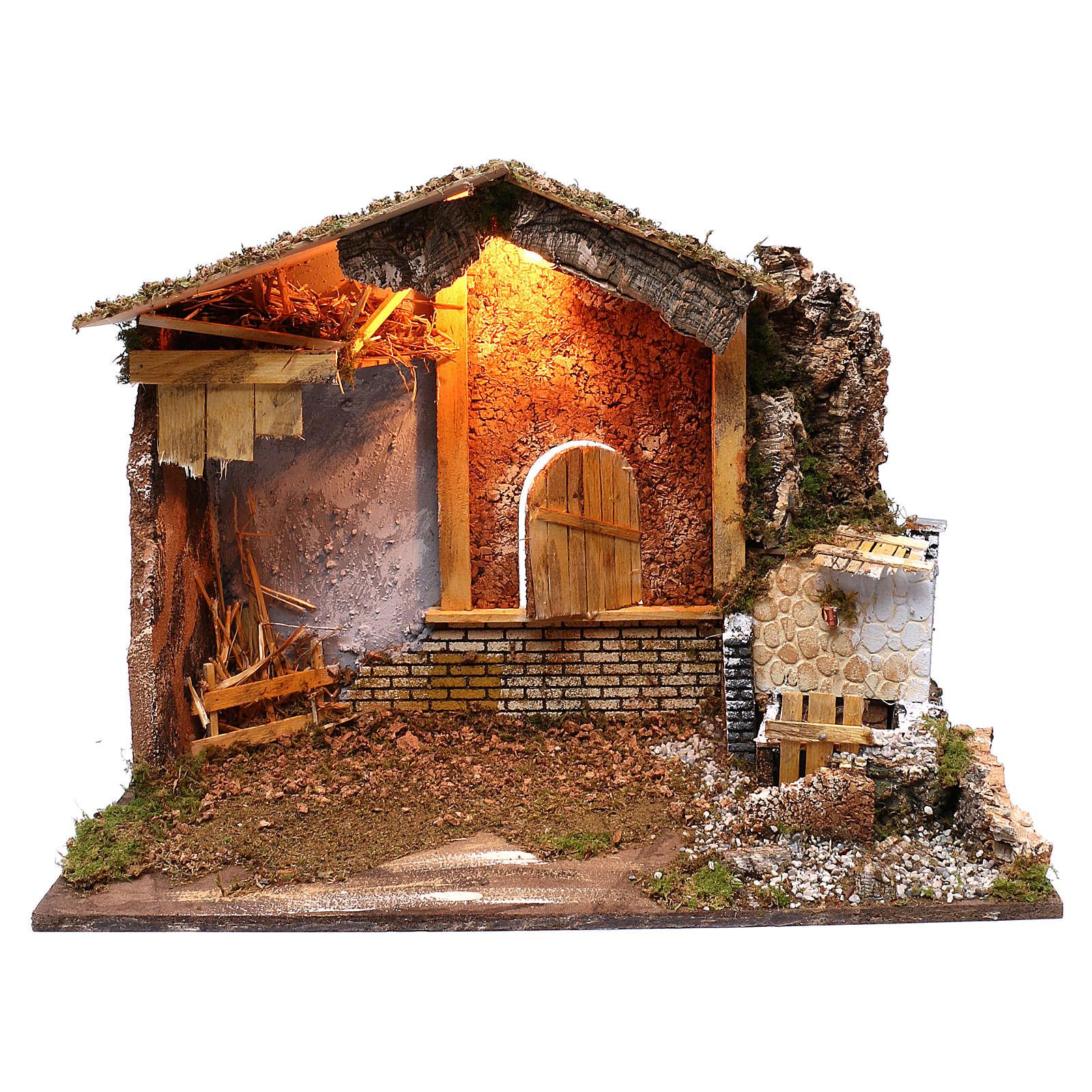Étable fontaine électrique fenêtre rétro 45x60x35 cm pour crèche 7-8 cm 4