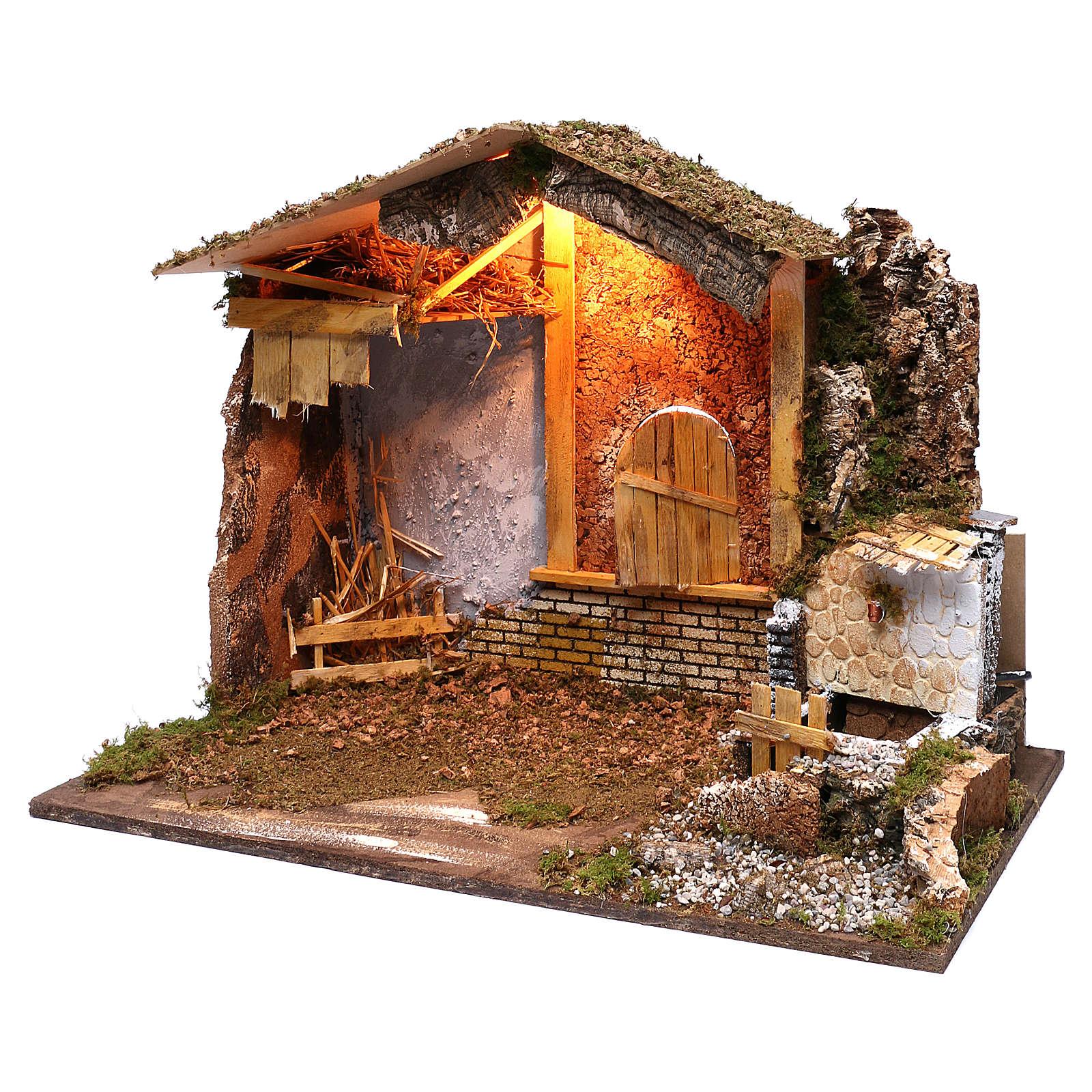 Stalla fontana funzionante finestra retro 45x60x35 cm per presepi 7-8 cm 4