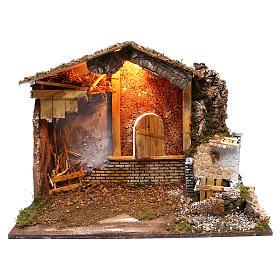 Stalla fontana funzionante finestra retro 45x60x35 cm per presepi 7-8 cm s1