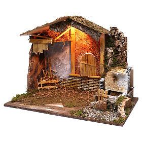 Stalla fontana funzionante finestra retro 45x60x35 cm per presepi 7-8 cm s2
