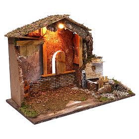 Stalla fontana funzionante finestra retro 45x60x35 cm per presepi 7-8 cm s3