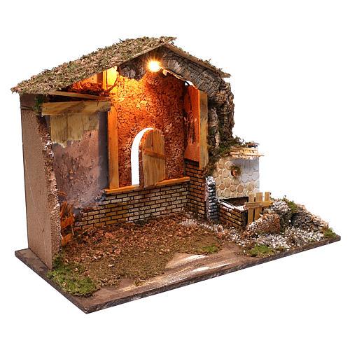 Stalla fontana funzionante finestra retro 45x60x35 cm per presepi 7-8 cm 3