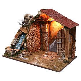 Cabaña techo en declive rojo cascada funcionante 45x60x35 cm para belenes 8 cm s2