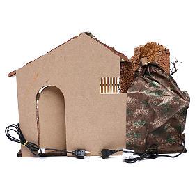 Cabane toit en pente rouge chute d'eau électrique 45x60x35 cm pour crèche 8 cm s4