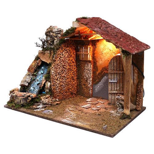 Cabane toit en pente rouge chute d'eau électrique 45x60x35 cm pour crèche 8 cm 2