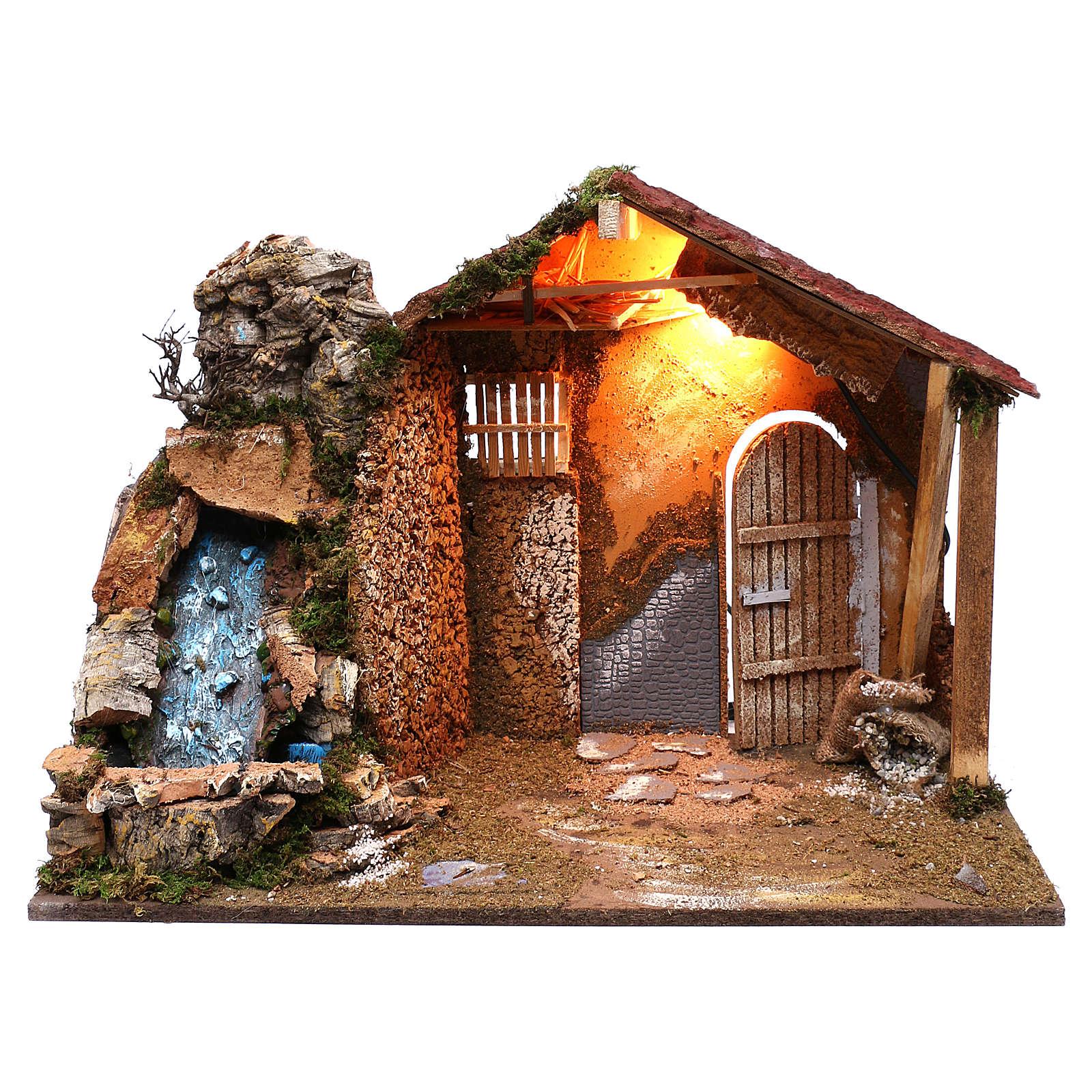 Capanna tetto spiovente rosso cascata funzionante 45x60x35 cm per presepi 8 cm 4