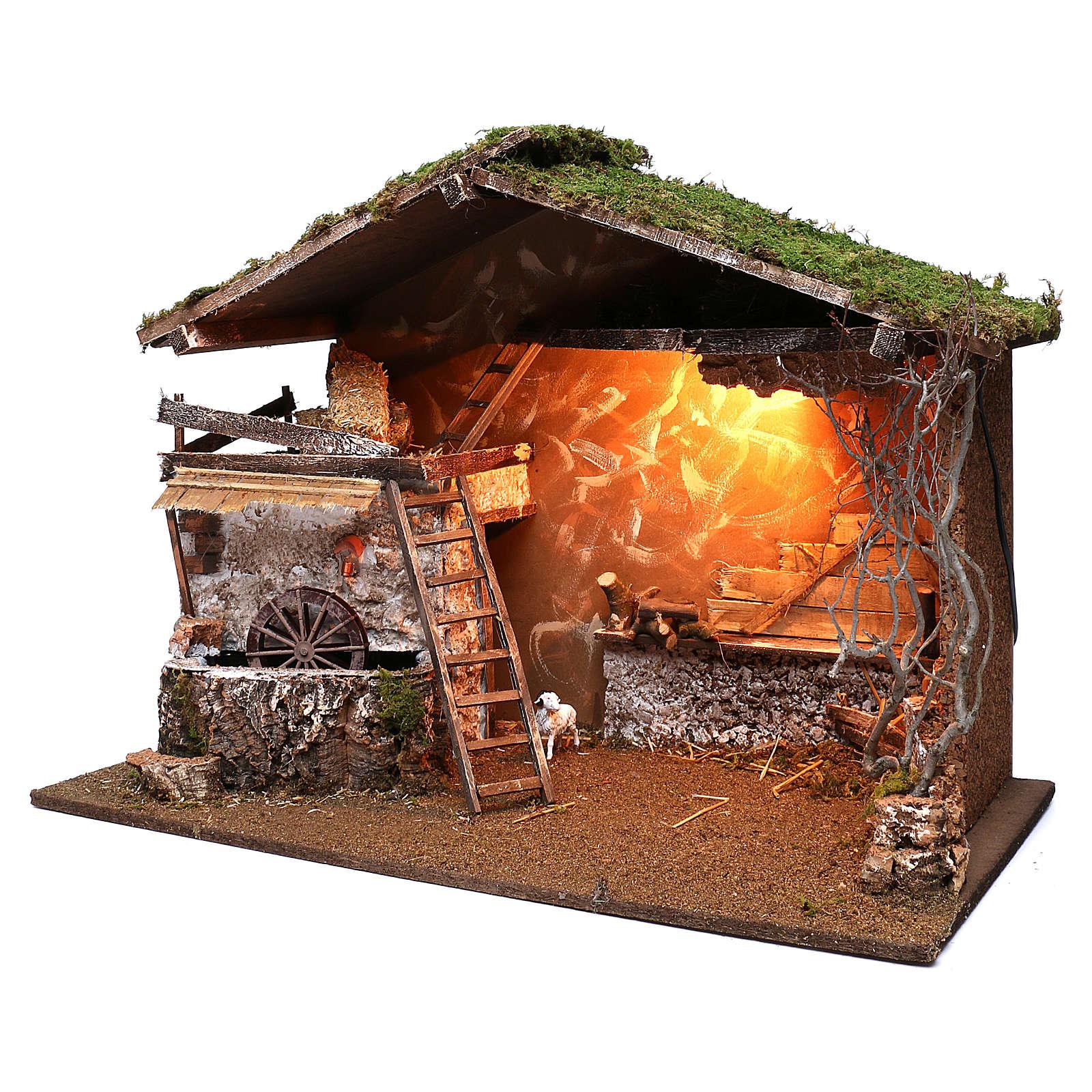 Cabaña iluminada y molino funcionante 55x75x40 cm para belenes 10 cm 4