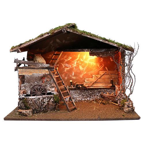 Cabaña iluminada y molino funcionante 55x75x40 cm para belenes 10 cm 1