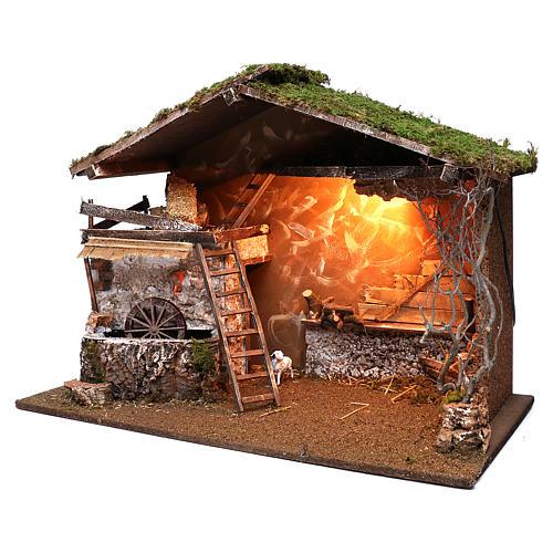 Cabaña iluminada y molino funcionante 55x75x40 cm para belenes 10 cm 2