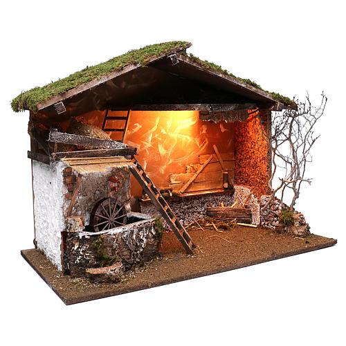 Cabaña iluminada y molino funcionante 55x75x40 cm para belenes 10 cm 3
