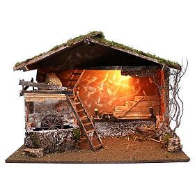 Cabane éclairée et moulin électrique 55x75x40 cm pour crèche 10 cm s1