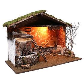 Cabane éclairée et moulin électrique 55x75x40 cm pour crèche 10 cm s3