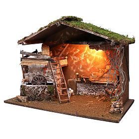 Capanna illuminata e mulino funzionante 55x75x40 cm per presepi 10 cm s2
