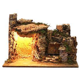 Ambientazione illuminata capanna fontana laterale muratura 35x50x25 cm presepi 9 cm s1