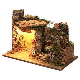 Ambientazione illuminata capanna fontana laterale muratura 35x50x25 cm presepi 9 cm s2