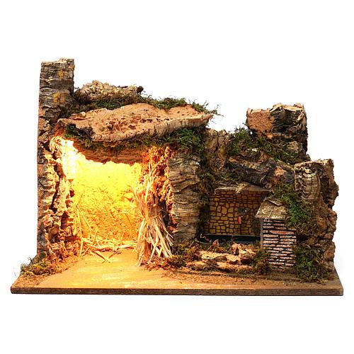 Ambientazione illuminata capanna fontana laterale muratura 35x50x25 cm presepi 9 cm 1