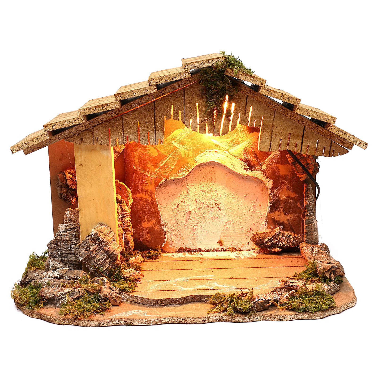 Capanna illuminata sfondo bianco tetto spiovente 35x50x25 cm presepi di 7 cm 4