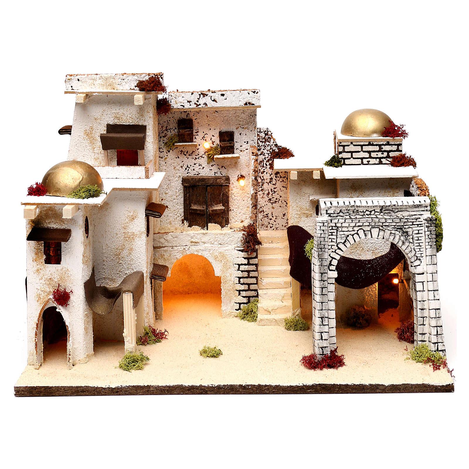 Arabic style illuminated landscape 30x45x30 cm for Nativity scenes of 7 cm 4