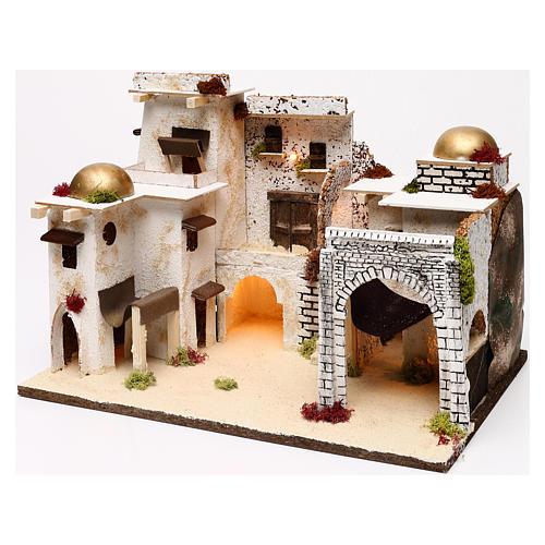 Arabic style illuminated landscape 30x45x30 cm for Nativity scenes of 7 cm 3