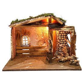 Illuminated hut with window and barn 35x50x25 cm s1