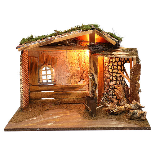 Illuminated hut with window and barn 35x50x25 cm 1
