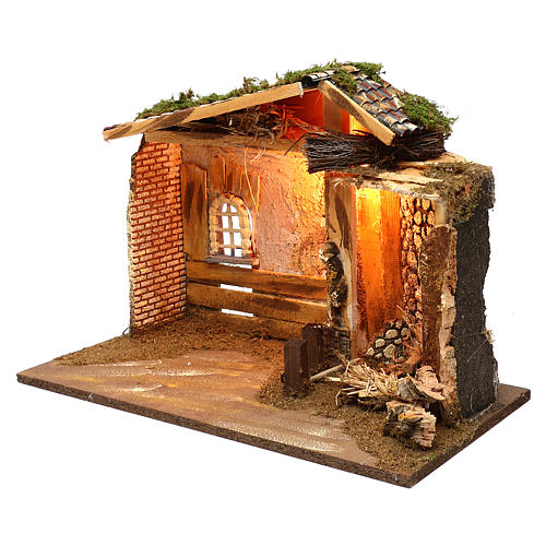 Illuminated hut with window and barn 35x50x25 cm 3