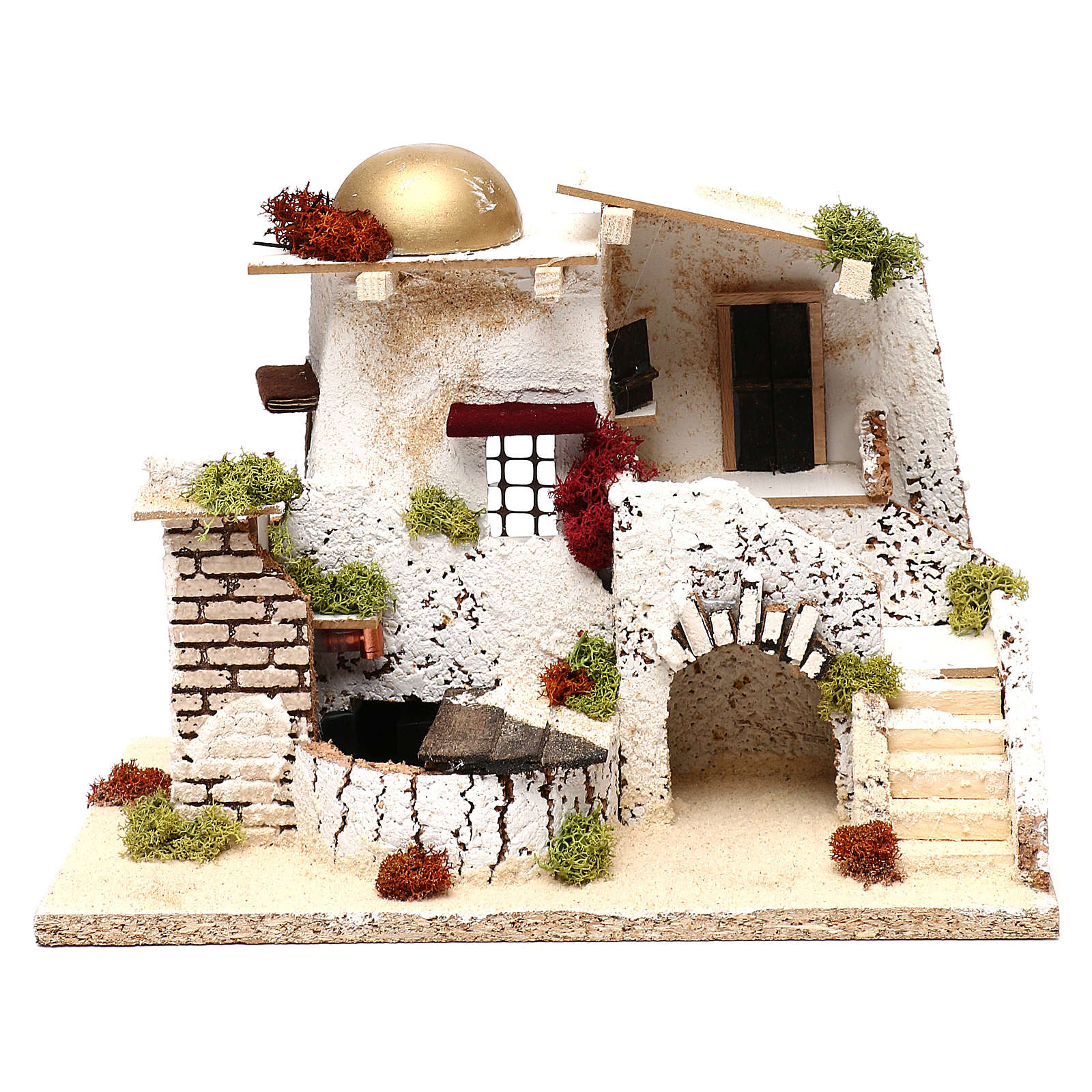 Arabic style house with golden dome and working fountain 25x35x20 cm for Nativity scenes of 7 cm 4