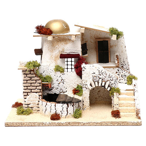 Arabic style house with golden dome and working fountain 25x35x20 cm for Nativity scenes of 7 cm 1