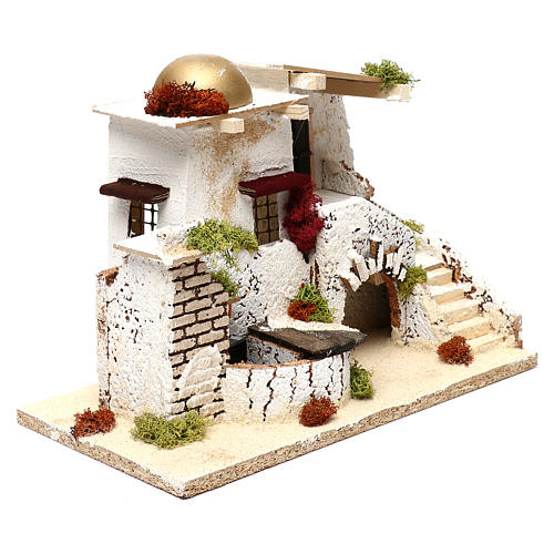 Arabic style house with golden dome and working fountain 25x35x20 cm for Nativity scenes of 7 cm 2
