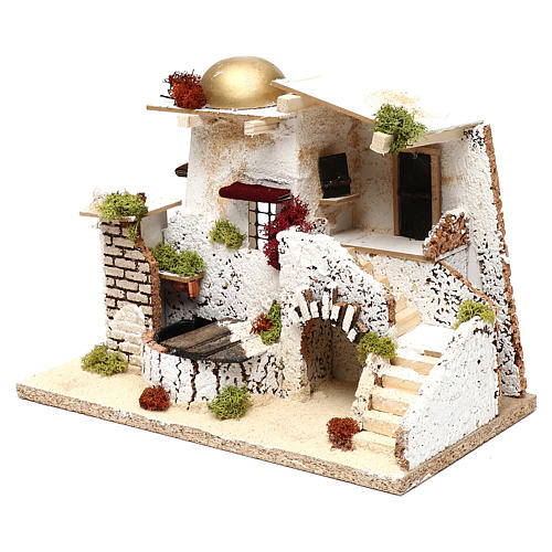 Arabic style house with golden dome and working fountain 25x35x20 cm for Nativity scenes of 7 cm 3