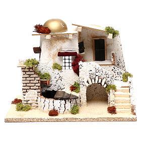 Casa stile arabo cupola dorata fontana funzionante 25x35x20 cm presepi 7 cm s1