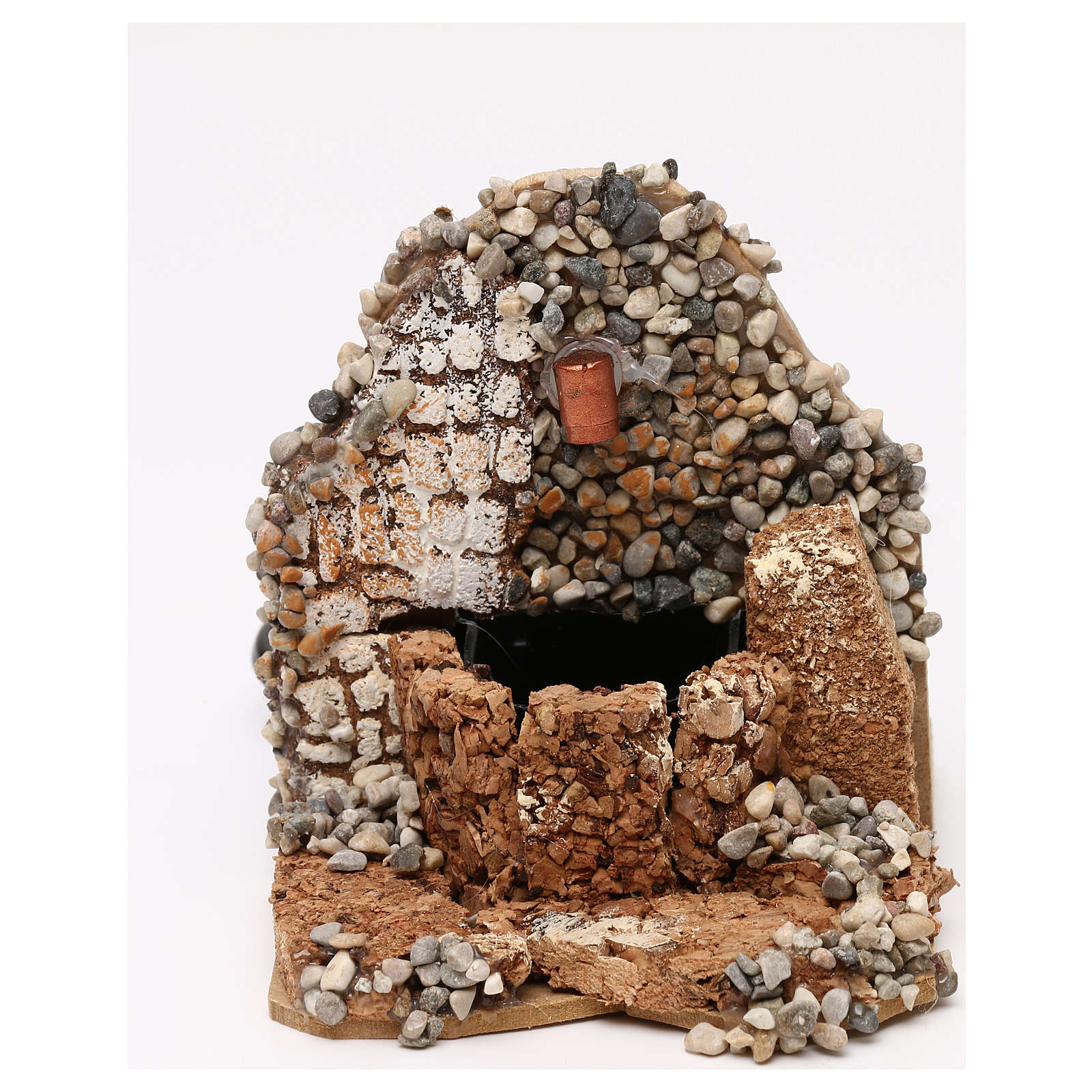 Masonry fountain with working pump 10x10x15 cm 4