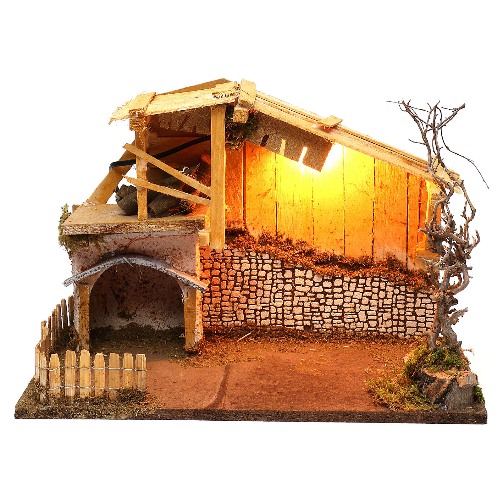 Nordic style hut with fence and lighting for Nativity scenes of 13 cm 30x40x20 cm 4