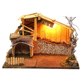 Nordic style hut with fence and lighting for Nativity scenes of 13 cm 30x40x20 cm s1