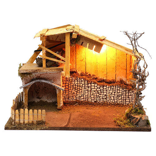 Nordic style hut with fence and lighting for Nativity scenes of 13 cm 30x40x20 cm 1